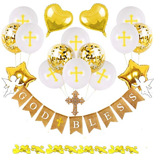 Christening Decorations for Boys Girls Holy Communion Decorations God Bless Banner Confirmation Decorations Baptism Christening Cake topper-Set of 22