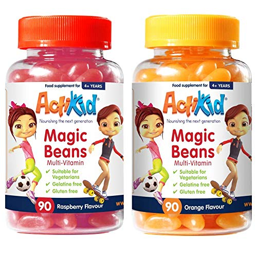 2 Pack ActiKid Magic Beans Multi-Vitamin Raspberry & Orange 90s, Gelatine Free, Vitamins for Children, Immune Support Booster