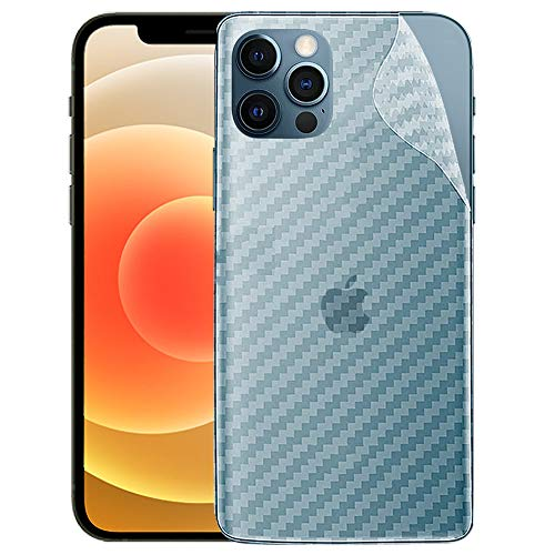 LINLO Compatible for Apple iPhone 12 Pro Ultra Thin Slim Fit Clear Transparent 3D Carbon Fiber Back Skin Rear Screen Guard Protector Sticker Protective Film Wrap Not Glass (Carbonn)