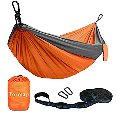 Tormays 660lbs Camping Hammock, Double Portable Hammocks with 2 Tree Straps, Lightweight Nylon Parachute Hammocks for Backpacking, Travel, Beach, Backyard, Patio, Hiking?Orange?