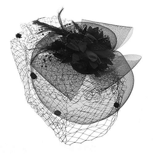 Green & Rare Tocado de malla para mujer, velo, plumas, clip para el pelo, nupcial, boda, cuadrifolio de flores, con cuentas de color sólido, 21 x 21 cm
