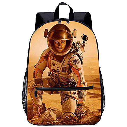 QULONG The Martian Rucksack 3D-gedruckter Teenagers Schultasche Casual Daypack Leichte Travel Rucksäcke Fashion Daypack Travel Rucksack Leinwand-Rucksack