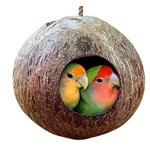 TOSSPER Käfig mit Lanyard hängt für Kleintiere Sittiche Finke Sparrows Zubehör Natürliche Kokosnuss-Shell-Vogel-Nesting Haus