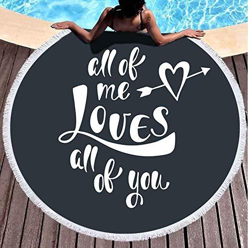 Nazi Mie Toalla de Playa Redonda All Me Loves Frase Manuscrita romántica sobre el Amor Wounded Beach Blanket