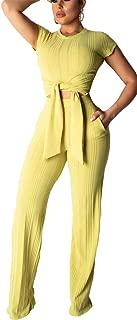 Women's Rib Two Piece Sets Short Sleeve Crop Top High Waist Wide Leg Long Pants with Belt