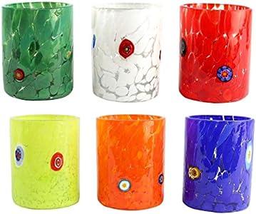 Juego de 6 vasos de cristal de Murano originales