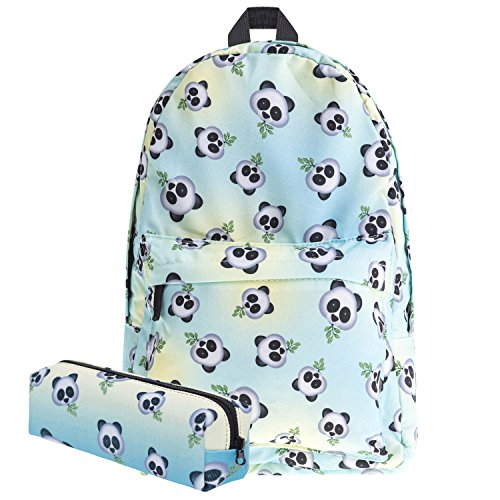 KooJoee Canvas Unisex Emoji School/Hiking/Travel/Camping/Laptop Backpack/Book Bags/Daypacks for Kids/Girls/Boys/Teenagers/Women(Free Pencil Bag) (Panda)