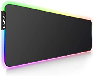 AUYEAR RGB Gaming Mouse Pad Large with Luminescent Fiber,Portable Extended Mouse Mat [Extended Mousepad],Non-Slip Rubber Base Computer Keyboard Pad Mat [31.5 X 12 Inch],Gaming Desk Mat for Gamer