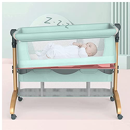 Cuna De Viaje 2 en 1, cuna portátil de viaje para bebé con colchón y canasta de almacenamiento, cuna plegable fácil para bebé recién nacido, Verde