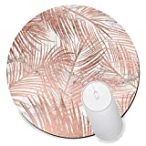 Round Gaming Mouse Pad Creative Custom Non-Slip Mouse Mat-Tropical Rose Gold Palm Tree Leaf Marble