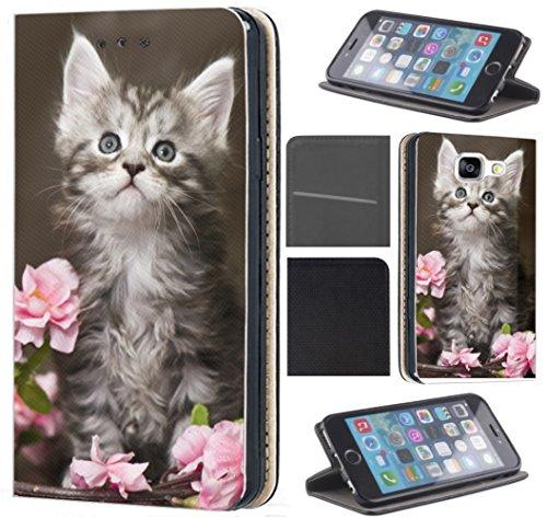 Samsung Galaxy Xcover 3 Hülle von CoverHeld Premium Flipcover Schutzhülle Xcover 3 aus Kunstleder Flip Case Motiv (1251 Baby Katze Kätzchen Grau Weiß)