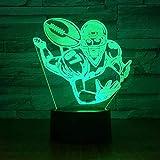 Veilleuse 3D Lampe De Couchage Football Ballon De Rugby Joueur 3D Lampe De Nuit Stéréo Led Acrylique Bureau Bar Chambre Ambiance Éclairage 7 Couleurs Illusion Cadeau D'Anniversaire