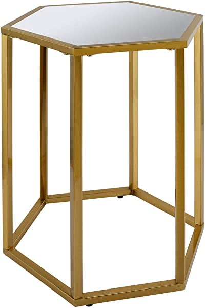 Side Table Modern Designed Accent Metal Hexagon End Table With Glass And Mirror Top Silver Mirror Top