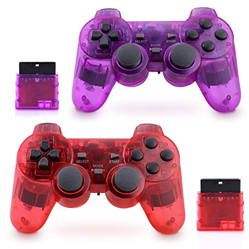 Apzia Wireless PS2 Controller, Dual Shock Gamepad Remote for Sony PS2/Playstation 2 (Red & Purple)