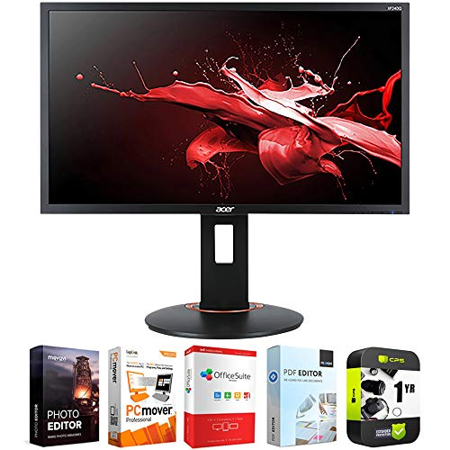 Acer UM.UX0AA.S01 23.6 inch XF240Q Sbiipr 16:9 Gaming Monitor 144hz-165hz AMD FreeSync Bundle with 1 Year Extended Protection Plan and Elite Suite 18 Standard Editing Software Bundle