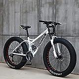 """SHUI 26"""" Mountain Bike, Bicicletta a 24 velocità, Bici da Montagna con Pneumatici Larghi 4.0 per Adulti, Telaio in Acciaio Ad Alto Tenore di Carbonio, Sei Colori Disponib White"""