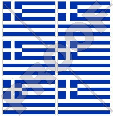 Grèce Grec drapeau Hellas, Hellénique 40 mm (40,6 cm) Téléphone Mobile Mini en vinyle autocollants, Stickers x6