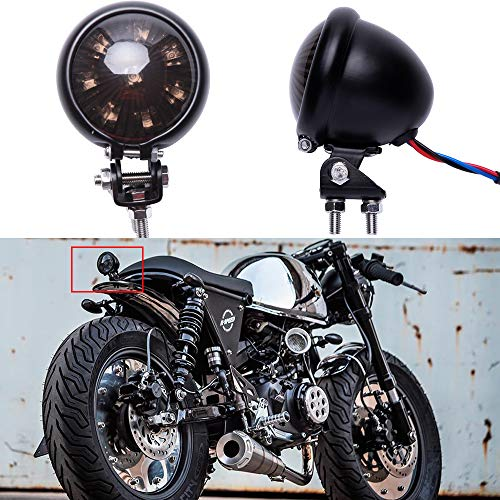 LED Motorrad Rücklicht Bremsrücklicht schwarz universal für Street Bike Chopper Bobber Cafe Racer CB1300 883 iron