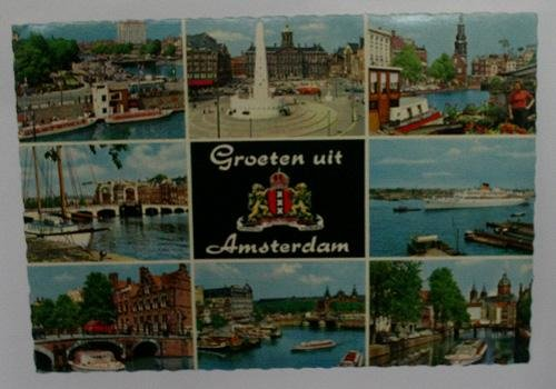 Antigua postal fotográfica. Old photo post card. Groeten uit Amsterdam