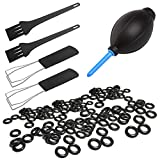 Keycap Puller Cleaning Tool and Rubber O-Ring Sound Dampeners, SourceTon 2 PCS Keycap Puller, 2 Cleaning Brush, 1 Air Blower & 140 PCS Rubber O-Ring