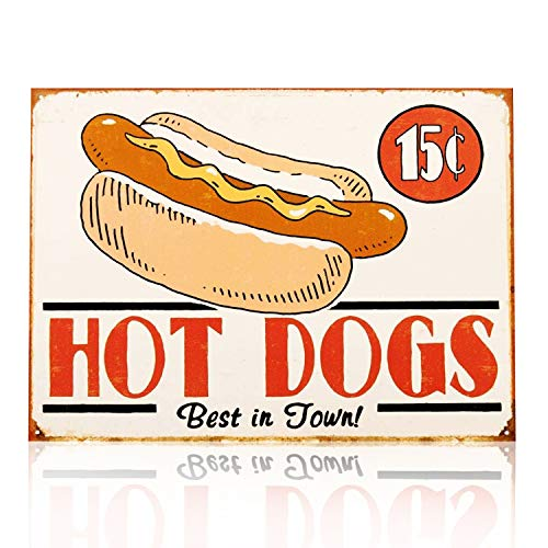 MMOUNT Hot Dogs Tin Signs Vintage Wall Decoration Coffee Restaurant Bar Sign 12X8Inch