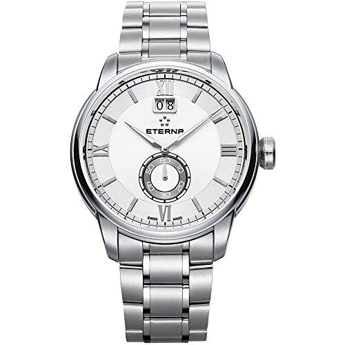Eterna adventic Herren Uhr analog Schweizer Quarzwerk mit Edelstahl Armband 2971.41.66.1704