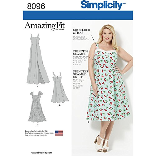 Simplicity 8096 Women's Plus Size Dress Sewing Pattern, Sizes 26W-32W