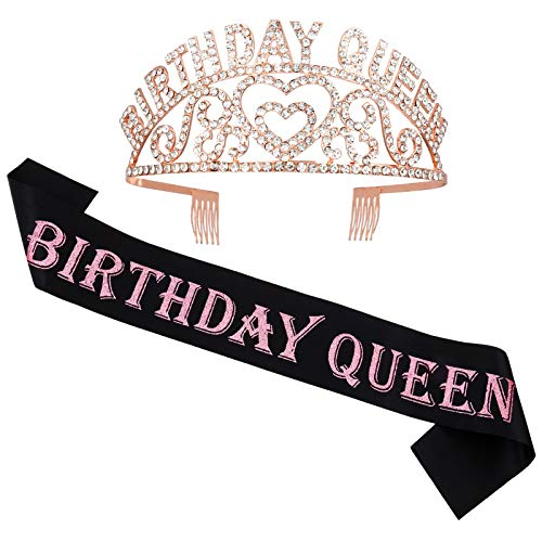 Veraing Geburtstags-Krone Schärpe, Roségold Geburtstags Kristall Tiara Birthday Queen Prinzessin Haar-Zusätze für Mädchen Party Accessoires (Krone + Schärpe)