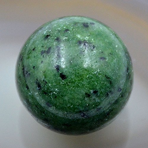 AD Beads Natural Gemstone 30mm Round Ball Crystal Healing Sphere Massage Rock Stones (Ruby Zoisite)