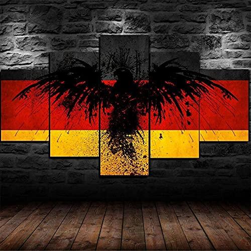 YUECHU- Deutschland Flagge Deutscher Adler Poster -5 Teile Wandkunst Malerei Das Bild Druck Auf Leinwand Abstrakt Kunstwerk Bilder Für Zuhause Büro Dekoration 5 Stücke 150X80Cm