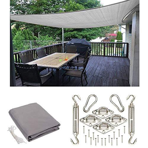 MIRAGE Waterdichte Tuin Vierkante Zonnezeil, Outdoor Patio Party Zonnebrandcrème, 2x2m HDPE Luifel 98% UV Blok Met RVS Kit