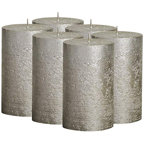 BOLSIUS Rustic Metallic Set of 6 Metallic Champagne Unscented Pillar Candles Inches –2.75 X 5 Decoration Dinner Wedding Candles – Perfect Use for Home Décor - Church-Spa Candle – Restaurant 130/68m…