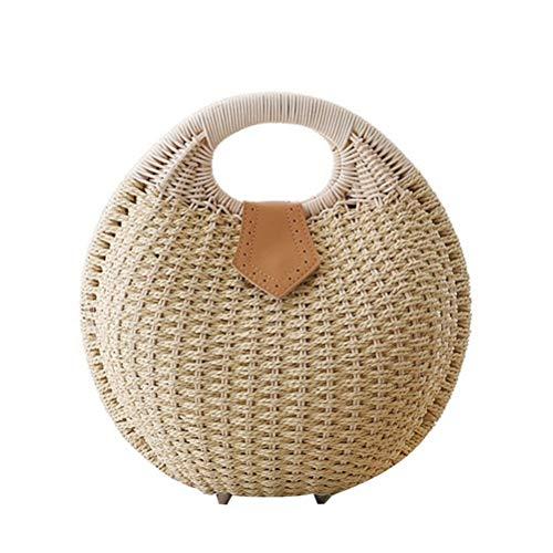 FENICAL Bolso de mano de paja en forma de concha de rota con asa superior de playa para mujer (beige)