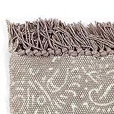 GJEFEGS vidaXL Kelim-Teppich Baumwolle 120x180 cm mit Muster Taupe - 3
