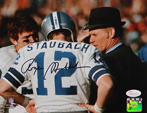 Roger Staubach Autographed Cowboys 8x10 SB VI PF Photo- JSA W Auth Black
