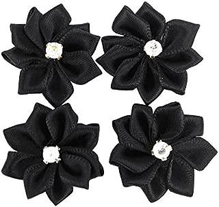 Dandan DIY Upick More Than 26 Colors 40PCS Satin Ribbon Flowers Bows Rose w/Rhinestone Appliques Craft Wedding Dec (Black)