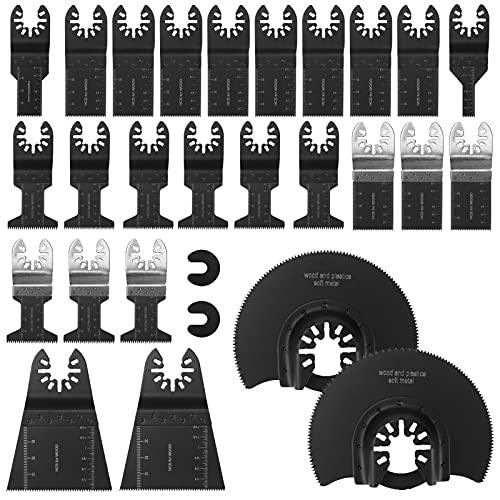 Wikay 28 Stk Oszillierendes Zubehör Set, Universal Multitool Sägeblatt Zubehoer aus Holz Metall Kunststoff Oszillierende Sägeblätter für Dewalt Bosch Craftsman Ridgid Milwaukee