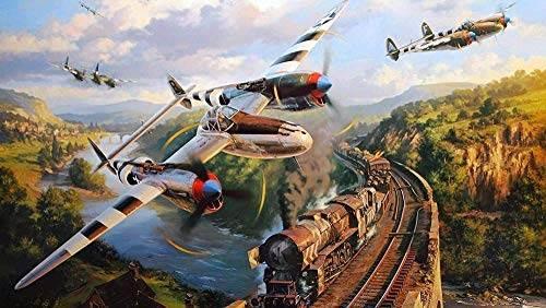 Zyysyzsh Puzzels 1500 Stukjes Volwassen Houten Puzzels Classic Puzzel Vrije Tijd Creatieve Spelletjes,Vliegtuig En Stoomtrein