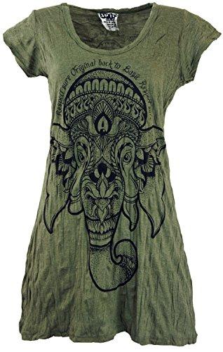 Guru-Shop Sure Long Shirt, Minikleid Ganesha, Damen, Olive, Baumwolle, Size:L (40), Bedrucktes Shirt Alternative Bekleidung