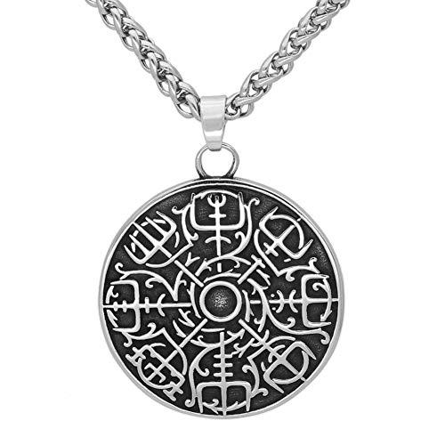 WTZWY Collar de Hombre Vikingo Brújula Runa Colgante, Nordic Odin Vegvisir Talismán de Monedas de Acero de Titanio, Cadena de Plata de 23'