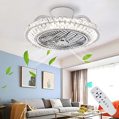 Ventilador de techo con luz y ontrol remoto LED lámpara de techo con ventilador regulable Ventilador Plafon de techo silencioso Invisible para Dormitorio Comedor 3 velocidades