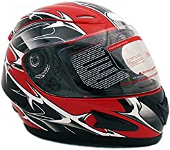 MMG 118S Motorcycle Full Face Helmet DOT Street Legal, Spikes Red, Large, Includes 2 Visors, Clear and Smoked Shield
