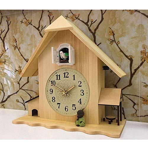 SILOLA Reloj de Cuco, Reloj de Pared para Sala de Estar, reinicio, Reloj Despertador de Cuco, Reloj Moderno, Breve decoración para el hogar, Alarma Diurna, 34x33cm