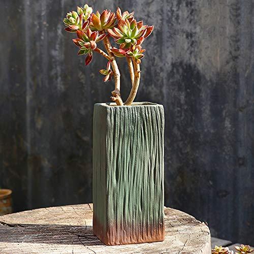 Kouintl Succulent Place Grand Old Pile Pot Haut Calibre Maison Grand Succulent Plant Creative Clay Pot en céramique Respirant Petit Pot de Fleurs (Color : Vert)