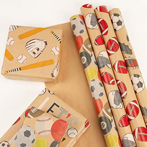 RUSPEPA Feuille De Papier D'Emballage Kraft - Rugby/Baseball/Football/Basketball/Tennis/Billard Design For Holiday - 6 Feuilles Emballées En 1 Rouleau - 44,5 X 76 cm Par Feuille