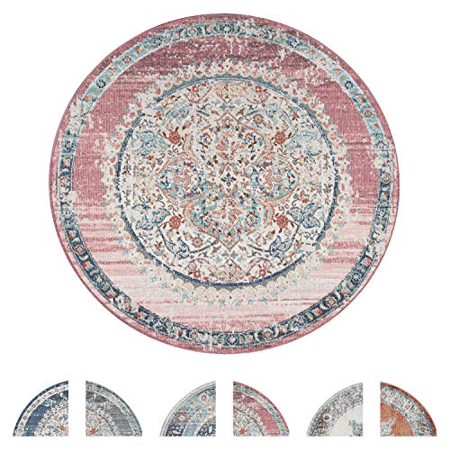 Outdoor Teppich Rund, Balkon Wohnzimmer Küchenteppich Vintage Orientalisch Modern Pastell, versch. Farben, Grösse:Ø 160 cm Rund, Farbe:Pink