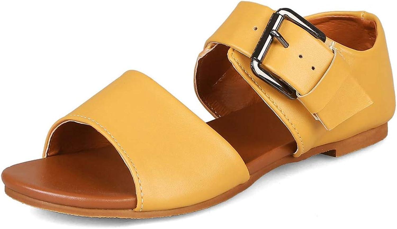 Vimisaoi Women's Summer Comfy Flat Sandals, Open Toe Ankle Strap Buckle Espadrille Rome shoes Black