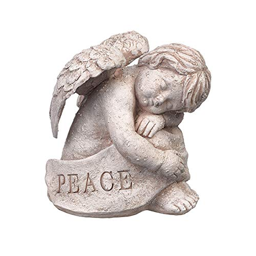 Grasslands Road Peace Angel Wing Cherub Natural Cream 7 x 6 inch Cement Figurine Decorative Garden Statue