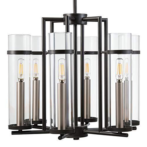 Chiara 6 Light Contemporary Chandelier - Black w/Brushed Nickel - LL-CH15-5BLK