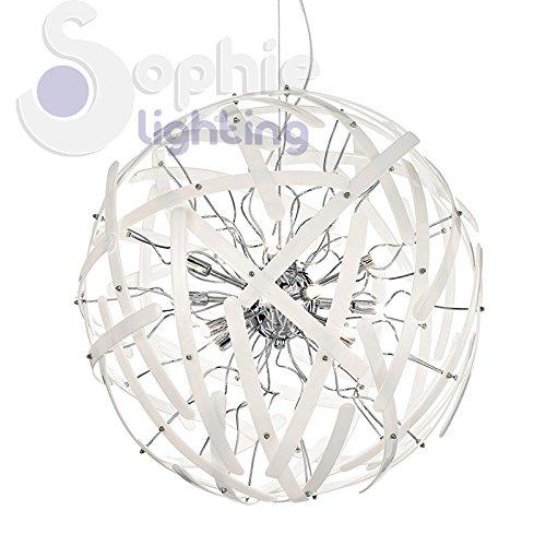 Lustre Ø60 cm 12 lumières suspension design moderne élégante boule globe acier chromé tiges verre blanc séjour salon chambre lit lit Lem SP12 SOPHIE LIGHTING